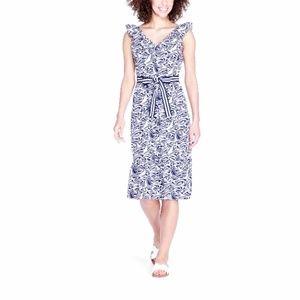 Vineyard Ruffle V-Neck Nautical Belted Dress